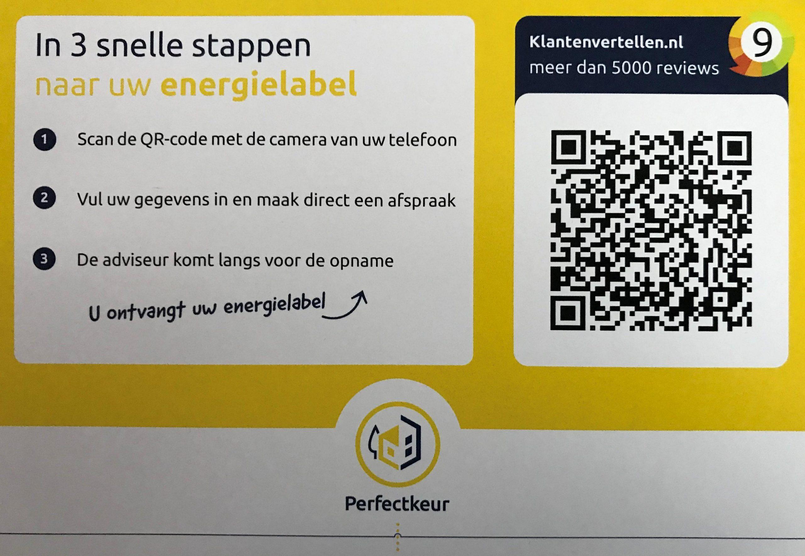 Energeilabel aanvragen scan de code